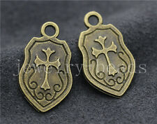 New 10/40/200pcs Antique Bronze Beautiful shield Jewelry Charms Pendant 24x14mm