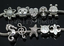 New 10/100pcs Antique Silver Bulk Lots big hole Beads European Charms Beads