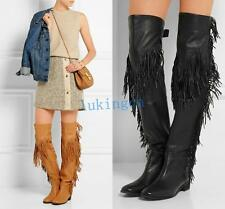 HOT women ladies gladiator tassels over knee high high thigh leather boots shoes