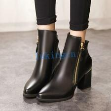 British Womens Pointed Toe Zipper Ankle Boots PULeather Block Heeled Shoes Black