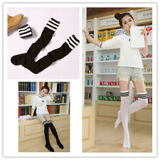 Sexy High Hot Striped Cotton Over Knee Socks Womens Girls Thigh Stockings Black