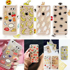 Lovely Emoticon Cartoon Soft TPU Hard PC Case Cover for iPhone 5 6 6s 7 Plus