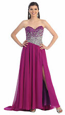 Prom Strapless Sweetheart Chiffon Formal Evening Long Gown Front Slit