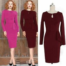 New Womens Office Work Midi Bodycon Long Sleeve Formal Party Wiggle Pencil Dress