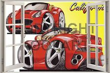 Huge 3D Koolart Window view Ferrari California Wall Sticker Poster 2609