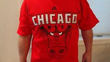 NWOT NBA Adidas Chicago Bulls Men's Red Short Sleeve Tee: Sizes M-2XL