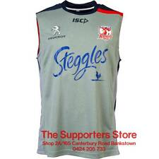 Sydney Roosters NRL 2016 ISC Players Gray Training Singlet Size S-3XL! Tank Top!