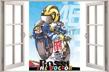 "Huge 3D Koolart Window view Yamaha V.Rossi ""The Doctor"" Wall Sticker Poster 3034"