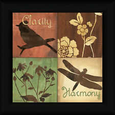 Organic Nature Clarity 12x12 Flower Blossoms Dragonfly Framed Art Print Picture