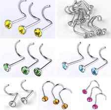 10pc 22G Stainless Steel CZ Crystal Nose Studs Rings Screw Twist Bars Piercing