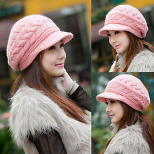 Womens Winter Warm Hat Knit Brim Beanie Outdoor sports Visor Ski Hat Beret Cap