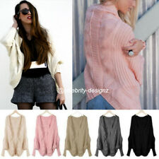 kn94 Women's Vintage Cable Knit Oversized Cardigan Batwing Grey Casual Poncho
