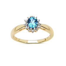 9CT GOLD BLUE TOPAZ & DIAMOND CLUSTER ENGAGEMENT RING SIZE J L O Q R