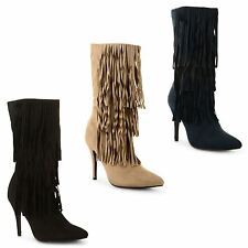 Ladies Womens Tassel Fringe Faux Suede Pointed Toe Stiletto Heel Mid Calf Boots