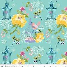 Riley Blake Fabric.Lulabelle main in Mint Green. Birds,birdcage,floral.By the FQ