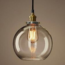 Vintage Industrial Pendant Retro Brass Clear Glass Chrome Lamp Light Chandelier