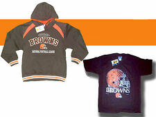 CLEVELAND BROWNS NFL EMBROIDERED YOUTH HOODED FOOTBALL SWEATSHIRT & SHIRT NEW