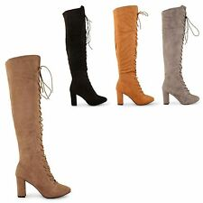 NEW WOMENS LADIES KNEE HIGH STRETCH HIGH HEEL LONG FULL LACE UP BOOTS SHOES