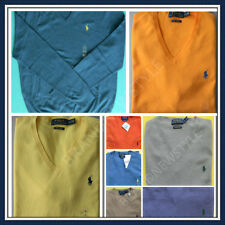 POLO Ralph Lauren 100% COTTON V Neck Long Sleeves MENS Sweater NEW U PICK COLOR