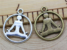 10/40/200pcs Tibetan Silver Beautiful Yoga Athletes Charms Pendant Craft 23x20mm