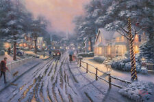 Thomas Kinkade Hometown Christmas Memories Art Canvas HD Print decor picture