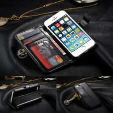 Black Genuine PU Leather Flip Wallet Stand Case & Screen Guard For Mobile Phones