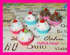 Sprinkled Cup Cake Pink Chocolate Red Velvet Blue Vanilla 3D Earrings USA MADE