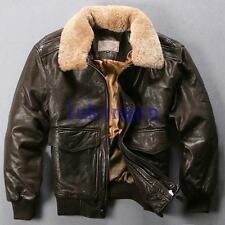 new mens pilot jacket winter GENUNIE LEATHER flight bomber coat fur collar parka