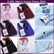 Mens Luxury Stylish Casual Dress Slim Fit T Shirt Casual Long Sleeves Button up