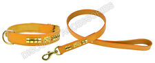 LEATHER DOG COLLAR LEAD STAFFORDSHIRE BULL TERRIER STAFFY KNOT STAFFIE STAFF TAN