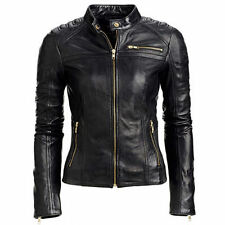 Womens Black Boda Lamb Skin Kay Michaels Inspired Quilted Biker Leather Jacket