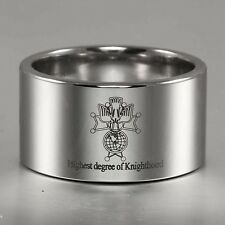 14MM  K Of C Signet Highest Degee Of Knighthood Pipe-Cut Tungsten Carbide Ring