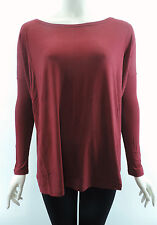 PIKO Burgundy T1851 Authentic Soft Loose Top Bamboo Boat Neck Long Sleeve