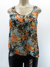 AMBIANCE  Black Blue Floral Chiffon Top Sheer Sleeveless Sizes S M L