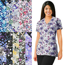 Medgear Womens Nursing Scrub Print Tops with V-neck Mock Wrap 109
