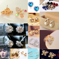 Hot Elegant Pearl Crystal Rhinestone Gold/Silver Plated Earring Ear Stud Jewelry