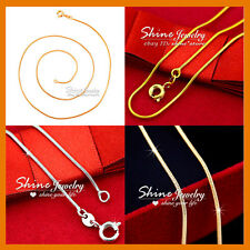 9K YELLOW ROSE WHITE SILVER GOLD FILLED SNAKE CHAIN SOLID NECKLACE 50CM pendant
