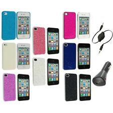 Bling Glitter Sparkly Ultra Thin Hard Back Cover+Aux+Charger for iPhone 4 4G