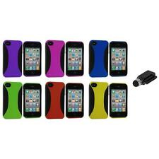 Color Hybrid Dual Flex Hard TPU Case Skin Cover+Dock Stylus for iPhone 4 4S 4G