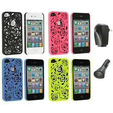 Color Lovely Carving Rose Flower Rear Hard Case+2X Chargers for iPhone 4 4G 4S