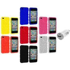 Color Totem Tribal Silicone Rubber Case Cover+USB Charger for iPhone 4 4S 4G