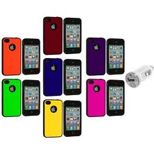 Color TPU Bumper Hybrid Hard Rubberized Case+USB Charger for iPhone 4 4S 4G