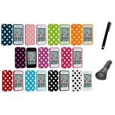 Polka Dot TPU Color Rubber Skin Case Cover+Charger+Pen for Apple iPhone 4 4S 4G