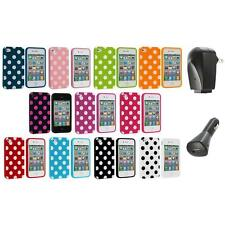Polka Dot TPU Color Rubber Skin Case Cover+2X Chargers for Apple iPhone 4 4S 4G