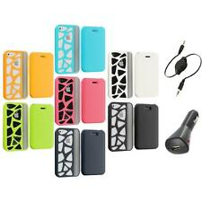 For iPhone 4 4G 4S Wallet Carved Out Design Hard Color Case Cover+Aux+Charger
