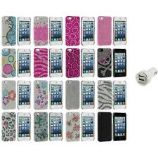 Diamond Rhinestone Bling Ultra Thin Rear Case Cover+Dual Charger for iPhone 5 5S