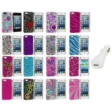 Color Diamond Rhinestone Bling Cute Case Cover+White Charger for iPhone 5 5S
