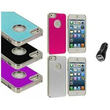 Aluminium Brushed Metal Color Hard Ultra Thin Case+2.1A Charger For iPhone 5 5S