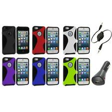 Color 5-Point Hybrid Premium Hard/Soft Case Cover+Aux+Charger for iPhone 5 5S