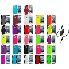Hybrid Mesh Hard/Soft Silicone Case Cover+Aux Cable for iPhone 5 5S Accessory